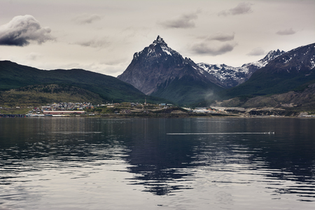 Ushuaia and mount Olivia viewed from Beagle channel (Argentina)