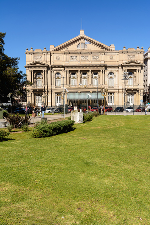 Buonos Aires, Argentina - October 29, 2016: Facade of the Teatro Colon in Buenos Aires in a normal sunny day in the spring. Editorial