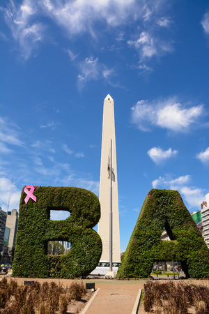 Obelisk and BA text with hedge in Buenos Aires (Argentina)