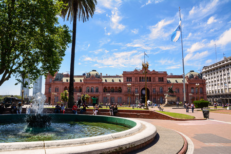 Buenos Aires, Argentina - October 30, 2016: Casa Rosada in the Plaza de Mayo in Buenos aires with tourist in a sunny day.