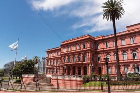Casa Rosada in Plaza de Majo in Buenos aires with tourist in a sunny day (Argentina)