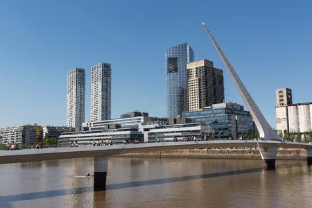 mujer: Puente de la Mujer (woman Bridge) and Skyscrapers in the Puerto Madero district in Buenos Aires (Argentina)