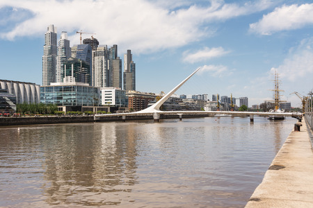 chanel: Puente de la Mujer (woman Bridge) and Skyscrapers in the Puerto Madero district in Buenos Aires (Argentina)