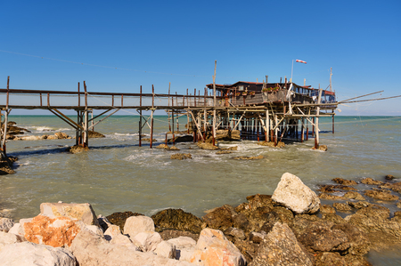 Rocca San Giovanni - Italy: April 17, 2017: Traditional fishermans house in Abruzzo, called Trabocco with nobody. Stock Photo
