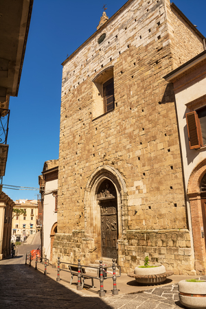 Facade and entrance to the Sanctuary of the Eucharistic Miracle in Lanciano (Italy) Stock Photo