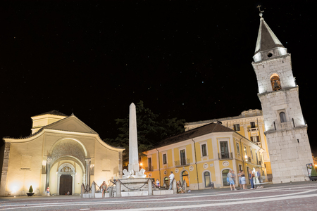 Benevento, Italy - 01 Augut 2017: Church of Santa Sofia and its bell tower on the night of August 01 and people walking