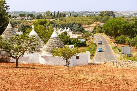 Trulli in the countryside of the Itria valley Stock Photo