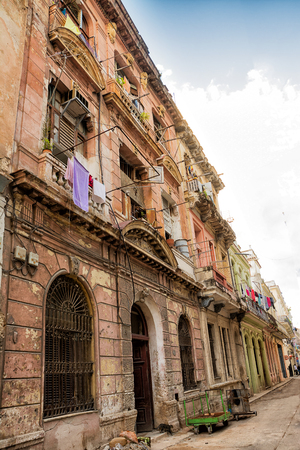Decadent buildings in the streets of old Havana