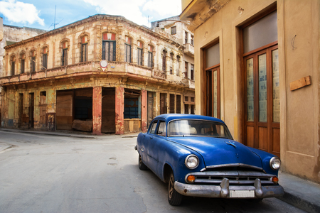 Old classic car parked on a street in old Havana Stock Photo