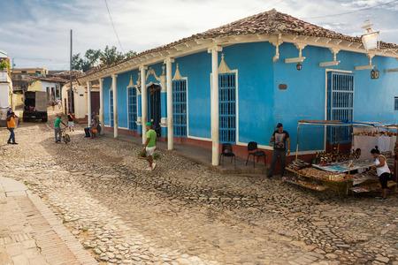 Trinidad, Cuba - 8 december 2017: Real life on a street of Trinidad in the morning