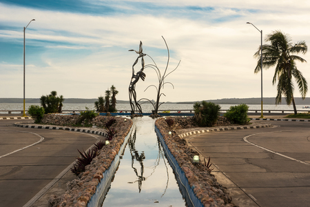 Cienfuegos, Cuba - 7 december 2017: Iron sculpture on the fountain of Punta Gorda at the end of the Malecon of Cienfuegos Stock Photo - 93780905