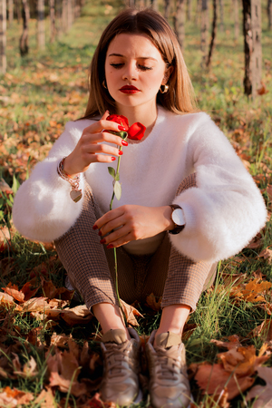 A girl with a rose Stock Photo