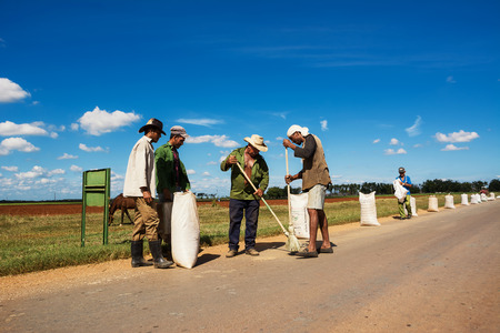 Cienfuegos, Cuba - December 7, 2017: Peasants collect the rice after drying it on the asphalt Editorial