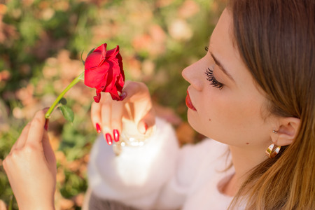 A girl with rose in valentines day