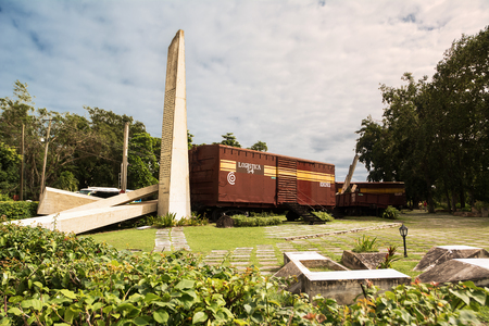 Santa Clara, Cuba - 10 december 2017: Museum of the decisive battle of the revolution where the train was derailed and conquered Santa Clara Editorial