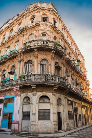 Old and decaying building in the center of old Havana