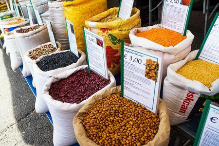 Ostuni, Italy - 28 april 2018: Sacks of legumes on the Ostuni market