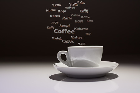 coffee cup with the word Caffè in many languages of the world 스톡 콘텐츠