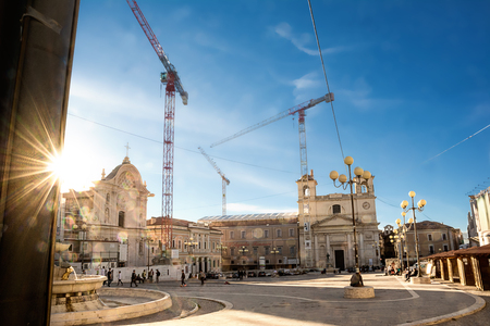 L'Aquila - Italy - October 14, 2017: Piazza del Mercato dell'Aquila in reconstruction after the earthquake
