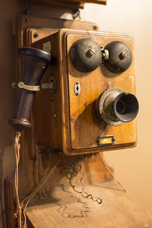 Old wooden phone from the 40s Stock Photo