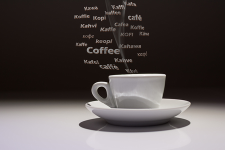 coffee cup with the word Caffè in many languages of the world and steam