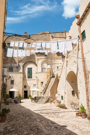 Characteristic alley with clothes hanging out to dry