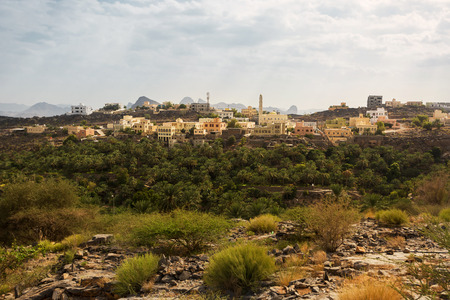 Area with new buildings and mosquea of the ancient village of Misfat al Abriyyin Banco de Imagens