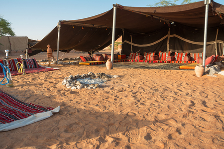 Bedouin tent in the Wahiba Sand Desert in the morning (Oman)