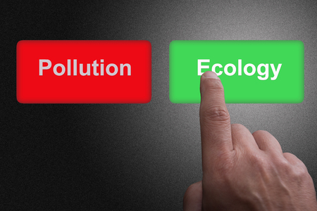 Two Buttons with written Pollution and Ecology and pointing finger, on a gray gradient background