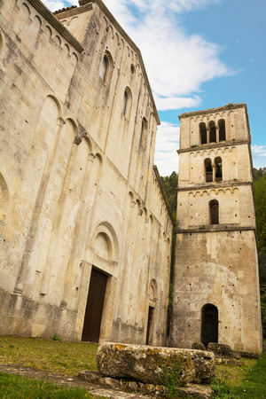 Facade and bell tower of the ancient Abbey of San Liberatore a Majella in Abruzzo (Italy)