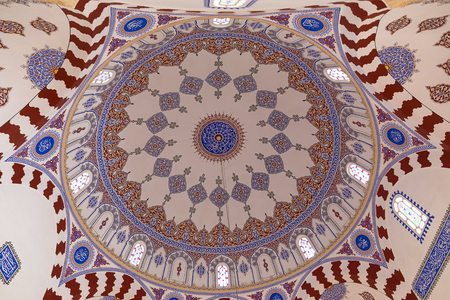 Decorated interior of the dome of the Banya Bashi ottoman Mosque in Sofia (Bulgaria)