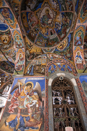 Religious frescoes on the treatises from the Bible, painted on the church wall in Rila Monastery, Bulgaria 新聞圖片