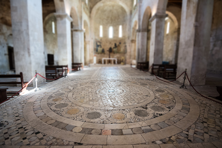 Interior of the medieval Abbey of San Liberatore a Majella in Serramonacesca in Abruzzo (Italy) with detail on the mosaic from the 1200s
