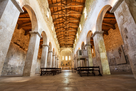 Interior of the central nave of the medieval Abbey of San Liberatore a Majella in Serramonacesca in Abruzzo (Italy)
