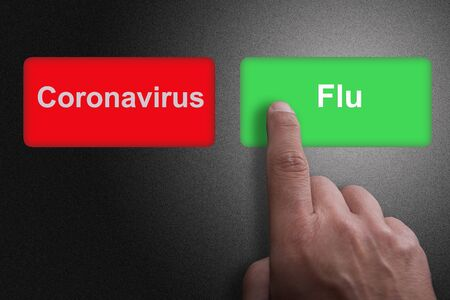 Red and green buttons with Coronavirus and Flu and pointing finger, on a gray gradient background, on Flu Фото со стока