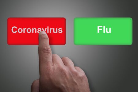 Red and green buttons with Coronavirus and Flu and pointing finger, on a gray gradient background, on Coronavirus