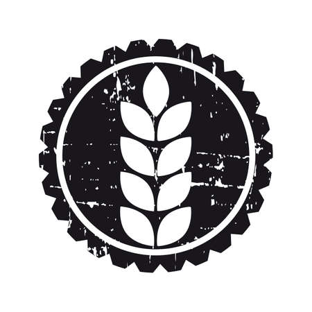 grain field: Black grunge circle label with grain seed Illustration
