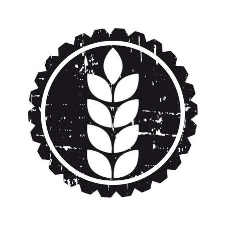 produits céréaliers: Noir étiquette de cercle grunge avec des semences de céréales