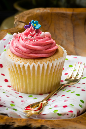 vanilla cupcake with strawberry butter cream