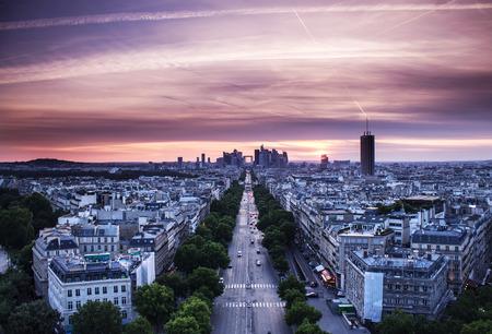 La Defense, Grande Armee avenue. Paris, France