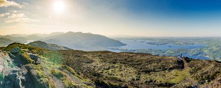 Beautiful sunny panorama of irish mountain landscape