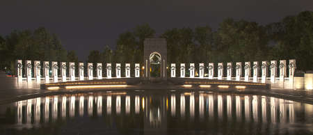 world wars: Washington, DC - World War II memorial at night Stock Photo