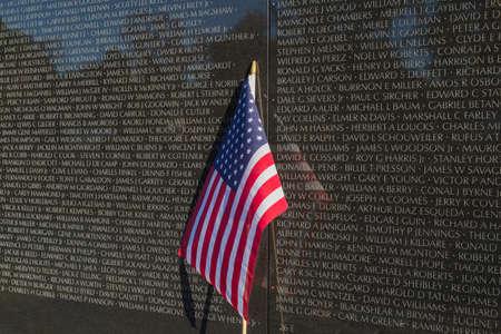 memorials: Washington, DC - US flag in front of Vietnam Veterans Memorial