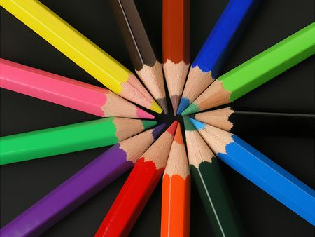 similarity: Colored Pencils in a Row Stock Photo