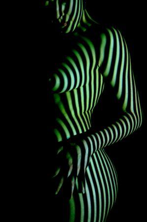Straps light pattern on woman skin