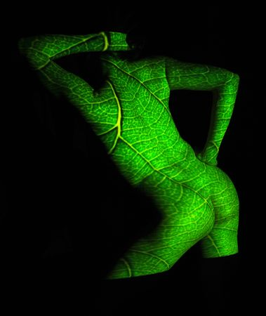 Projection of Leafs Texture on Woman Body Stock Photo - 2126289