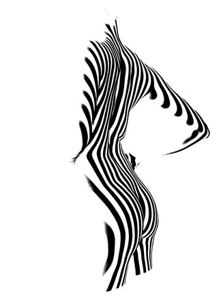 jeune femme nue: Jeune femme nue, Femme organisme Silhouette  Banque d'images