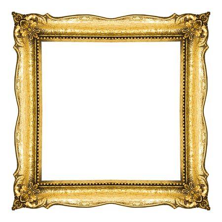 Golden Frame isolated on white background, studio shot