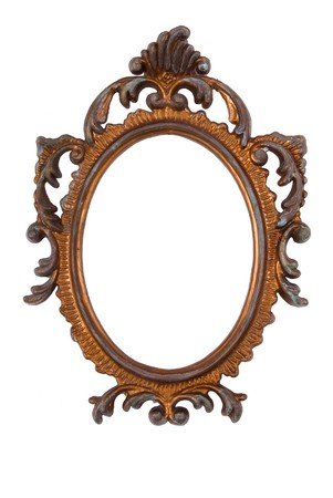 Old Ovall Picture Frame on white background photo