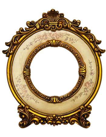 Old Gold Picture Frame on white background Stock Photo